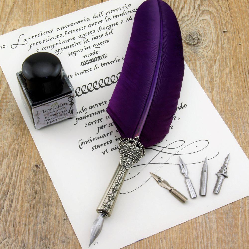Il gufo artigiano - Penna con piuma e inchiostro
